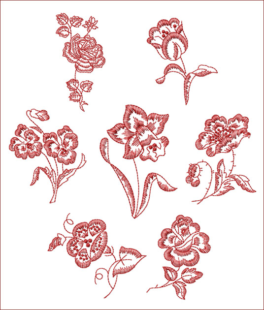 Red work embroidery pattern « origami